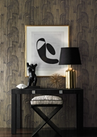 Crescent Paper in Ebony/Gold GWP-3304-48, Nessa Side Table 175 Fabric: Currents Silk in Ebony/Oatmeal GWF-3112-816, Welt: Sunbleached in Ebony GWF-3110-8